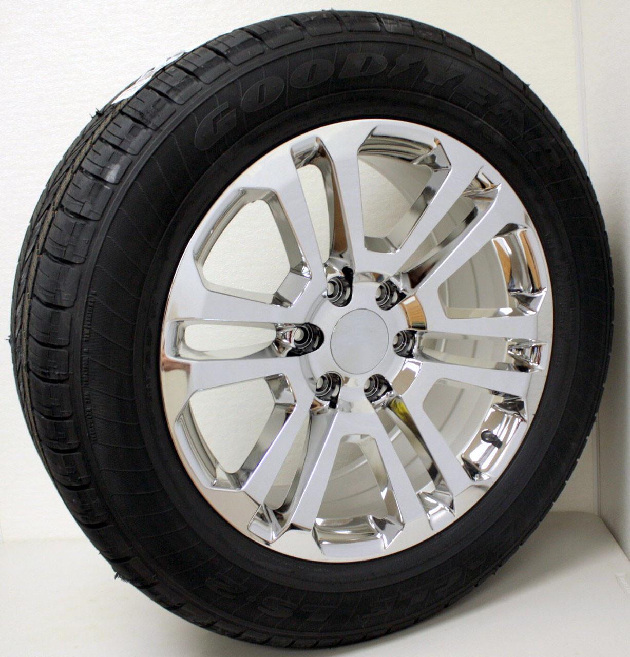 "Chrome 20"" Split Spoke Wheels with Goodyear Tires for Chevy Silverado, Tahoe, Suburban - New Set of 4"