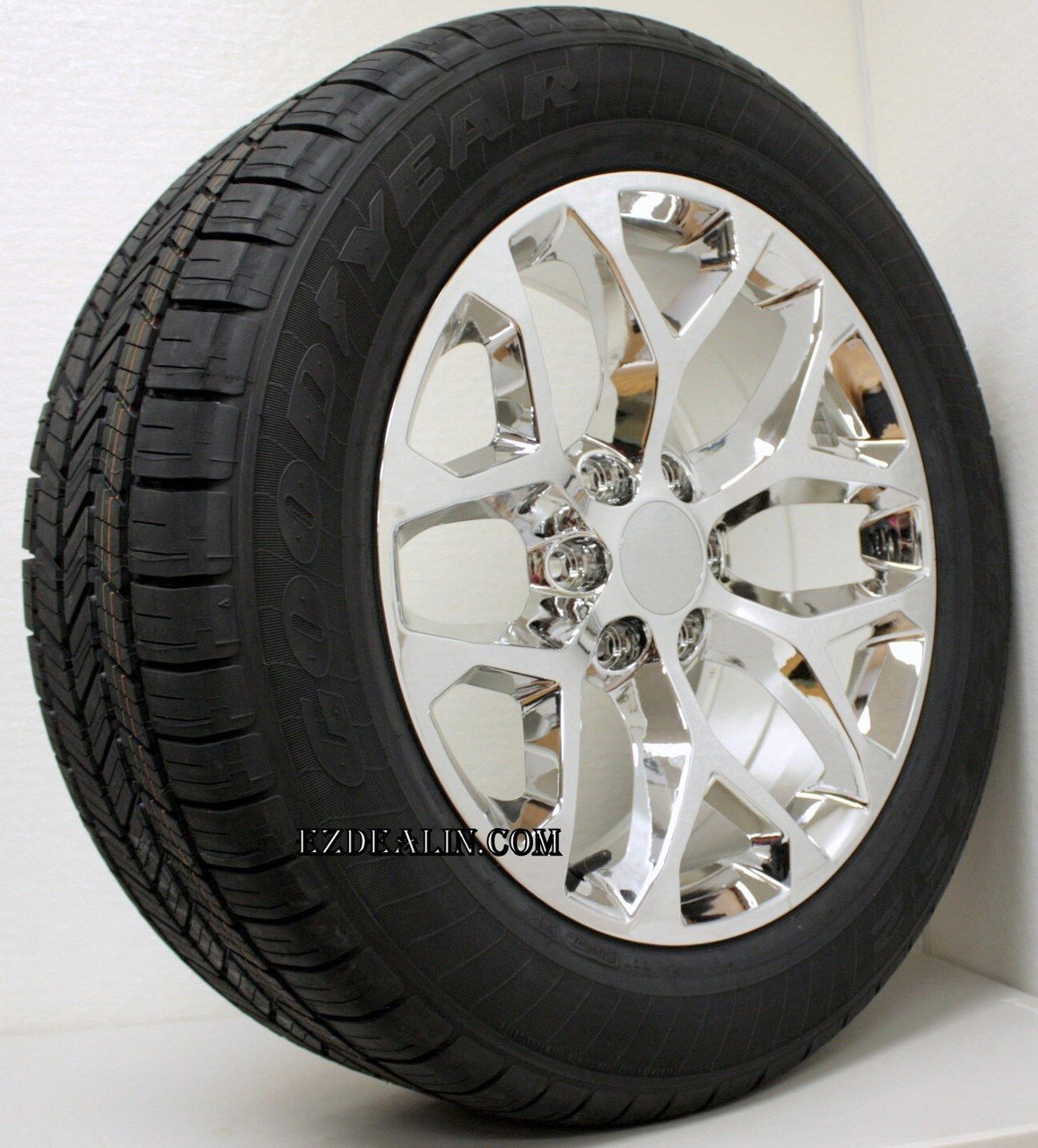 "Chrome 20"" Snowflake Wheels With Goodyear Tires for Chevy Silverado, Tahoe, Suburban - New Set of 4"