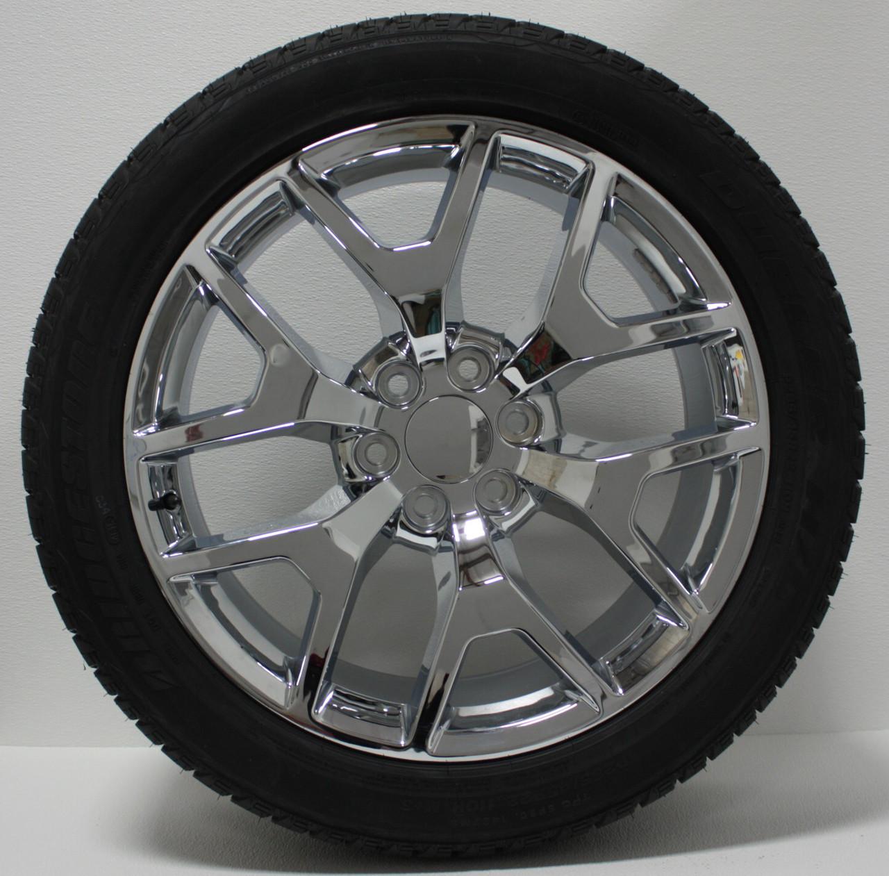 "Chrome 22"" Honeycomb Wheels with Bridgestone Tires for Chevy Silverado, Tahoe, Suburban - New Set of 4"