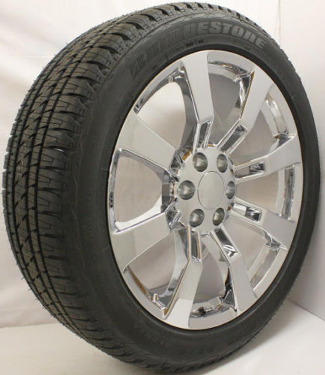 """Chrome 22"""" Eight Spoke Wheels with Bridgestone Tires for Chevy Silverado, Tahoe, Suburban - New Set of 4"""