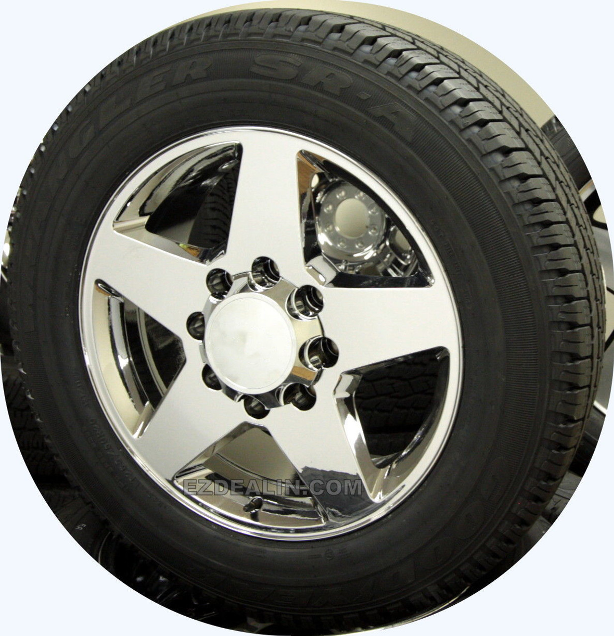 """Chrome 20"""" 8 Lug 8-180 Wheels With Goodyear Tires for 2011-2018 Chevy Silverado HD 2500 3500 - New Set of 4"""