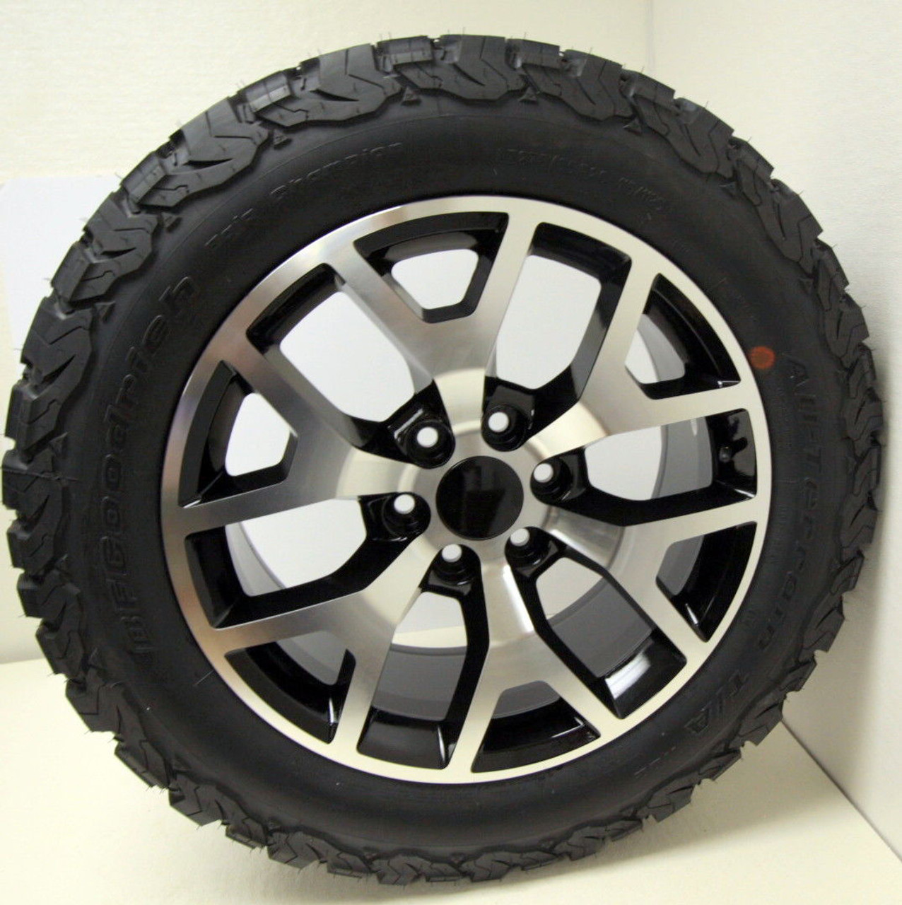 """Black and Machine 20"""" Honeycomb Wheels with BFG KO2 A/T Tires for Chevy Silverado, Tahoe, Suburban - New Set of 4"""