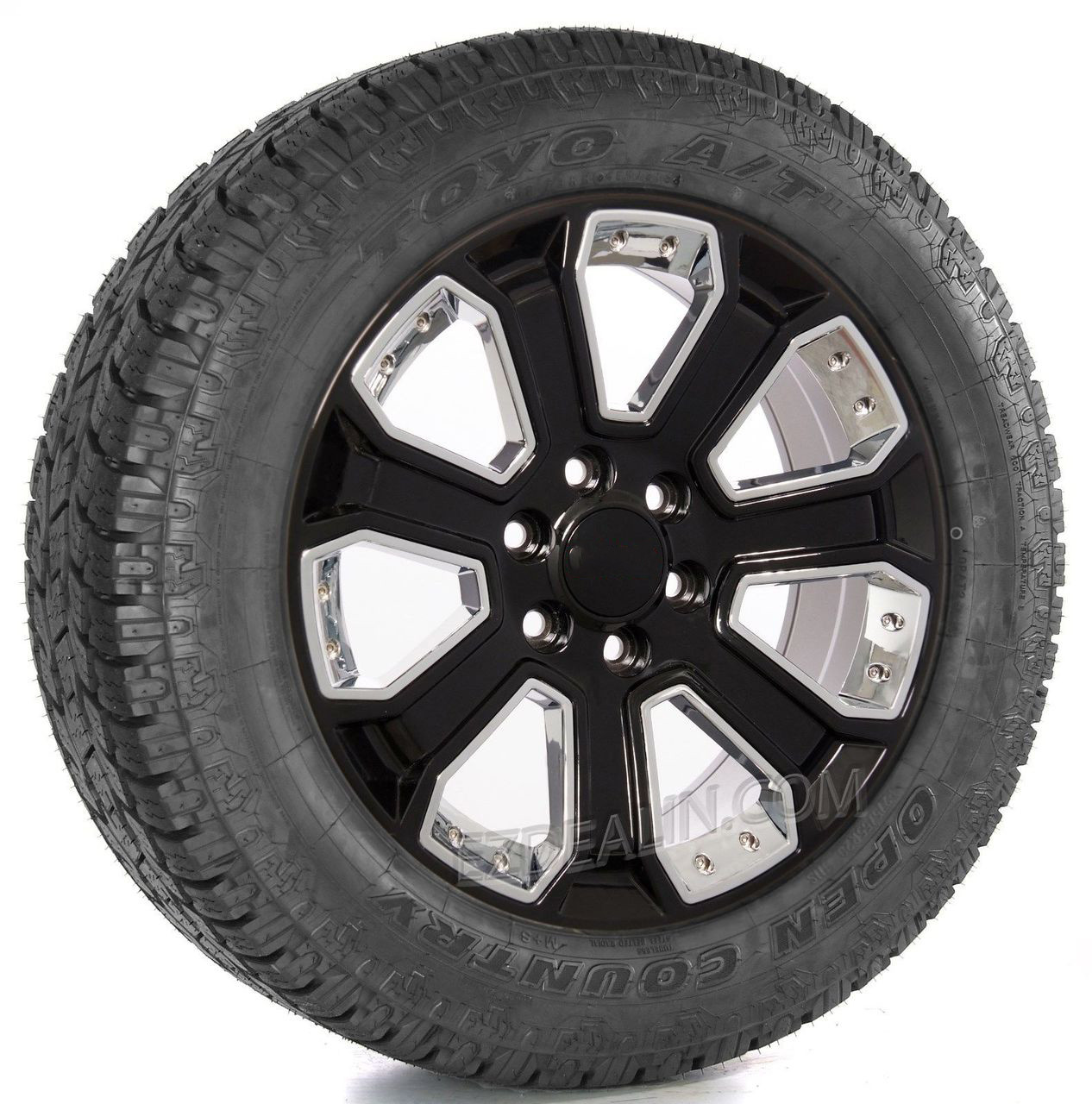 """Gloss Black 20"""" With Chrome Inserts Wheels with Toyo A/T Tires for GMC Sierra, Yukon, Denali - New Set of 4"""