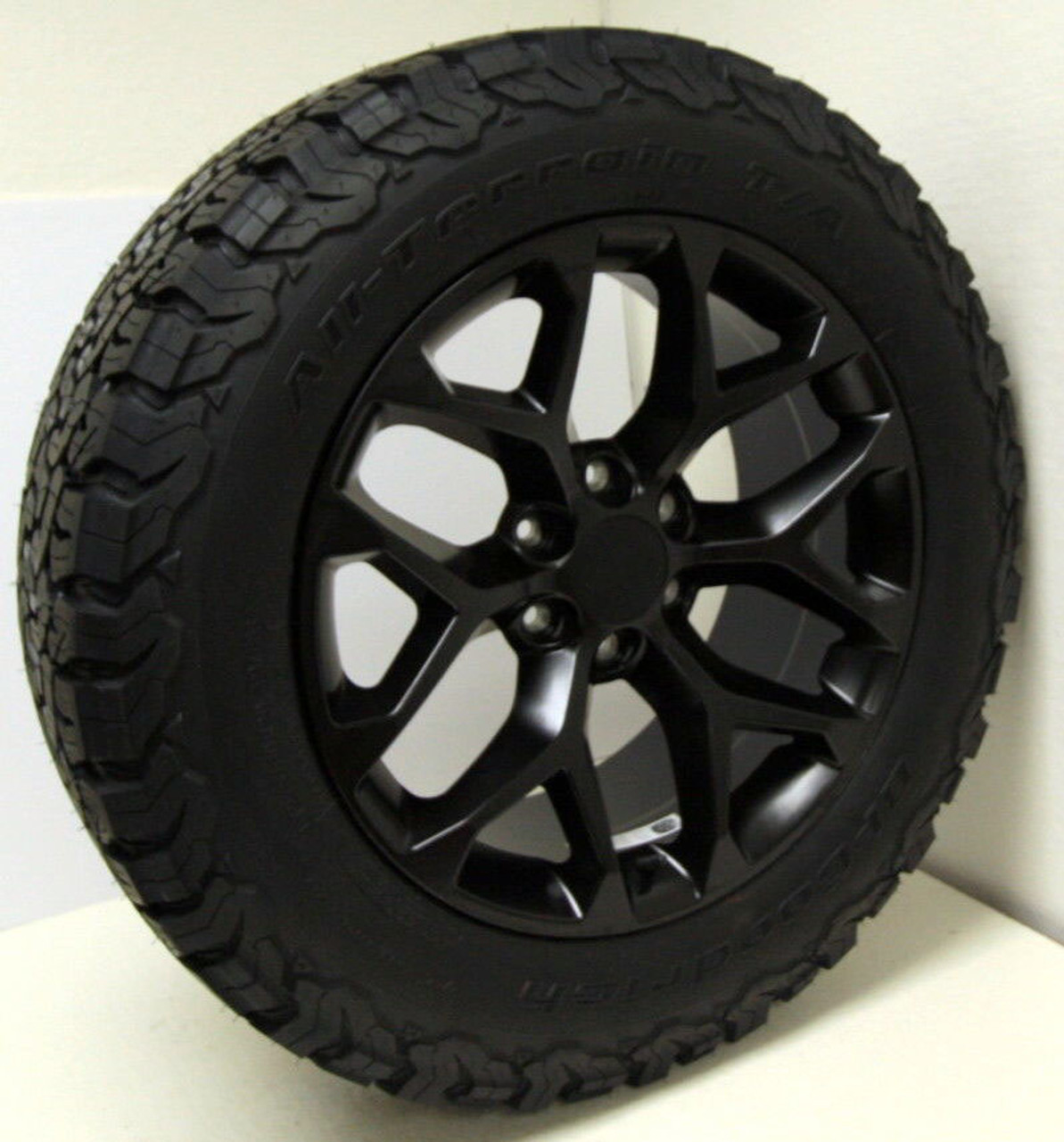 "Satin Matte Black 20"" Snowflake Wheels with BFG KO2 A/T Tires for GMC Sierra, Yukon, Denali - New Set of 4"