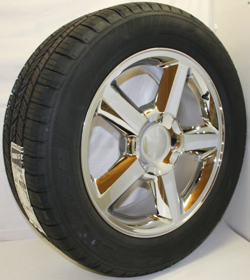 """Chrome 20"""" Old Style LTZ Wheels with Goodyear Tires for Chevy Silverado, Tahoe, Suburban - New Set of 4"""