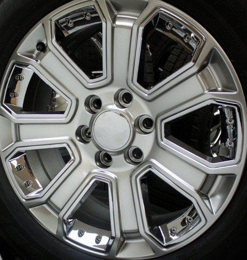 """Hyper Silver 20"""" With Chrome Inserts Wheels with Goodyear Tires for Chevy Silverado, Tahoe, Suburban - New Set of 4"""