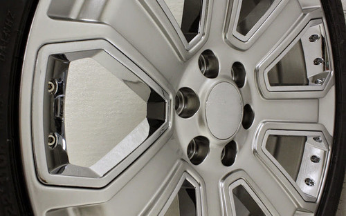 """Hyper Silver 20"""" With Chrome Inserts Wheels with Goodyear Tires for GMC Sierra, Yukon, Denali - New Set of 4"""