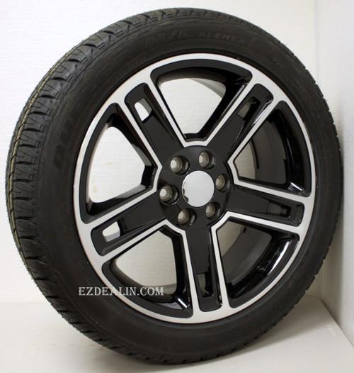 "Black and Machine 22"" Five Spoke Wheels with Bridgestone Tires for GMC Sierra, Yukon, Denali - New Set of 4"