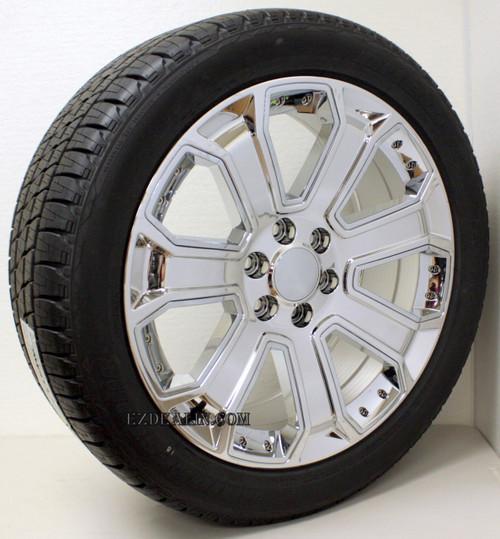 "Chrome 22"" With Chrome Inserts Wheels with Bridgestone Tires for Chevy Silverado, Tahoe, Suburban - New Set of 4"