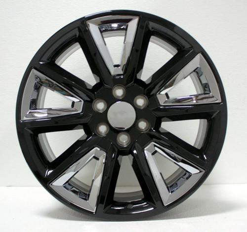 "Gloss Black 20"" New V Style Chrome Inserts Wheels for Chevy Silverado, Tahoe, Suburban - New Set of 4"
