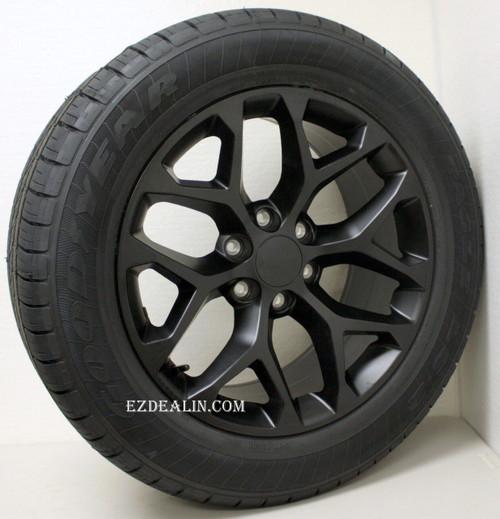 "Satin Matte Black 20"" Snowflake Wheels with Goodyear Tires for Chevy Silverado, Tahoe, Suburban - New Set of 4"