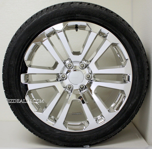 "Chrome 22"" Split Spoke Wheels with Bridgestone Tires for Chevy Silverado, Tahoe, Suburban - New Set of 4"
