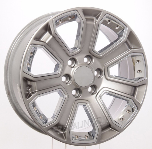 """Hyper Silver 20"""" With Chrome Inserts Wheels for Chevy Silverado, Tahoe, Suburban - New Set of 4"""