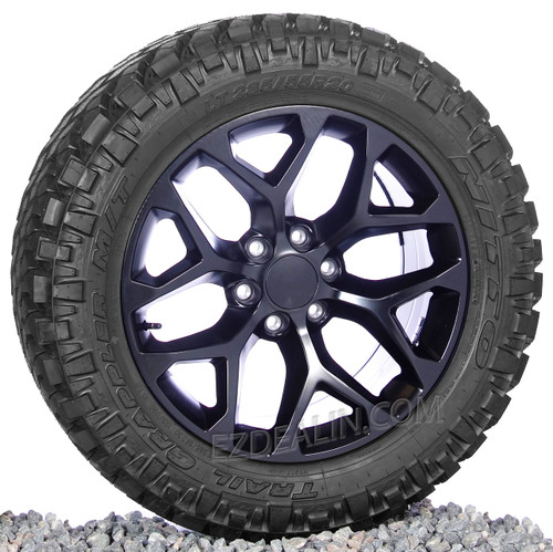 "Satin Matte Black 20"" Snowflake Wheels with Nitto M/T Tires for Chevy Silverado, Tahoe, Suburban - New Set of 4"