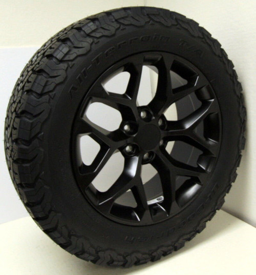 "Satin Matte Black 20"" Snowflake Wheels with BFG KO2 A/T Tires for Chevy Silverado, Tahoe, Suburban - New Set of 4"