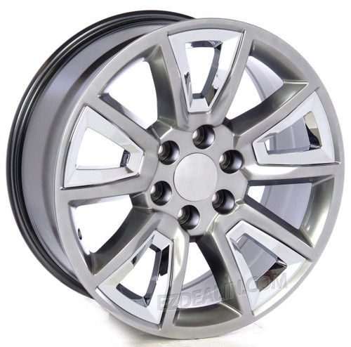 "Hyper Silver 20"" New V Style Chrome Inserts Wheels for GMC Sierra, Yukon, Denali - New Set of 4"