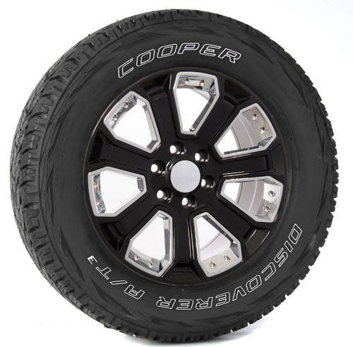 "Gloss Black 20"" With Chrome Inserts Wheels with Cooper Tires for Chevy Silverado, Tahoe, Suburban - New Set of 4"