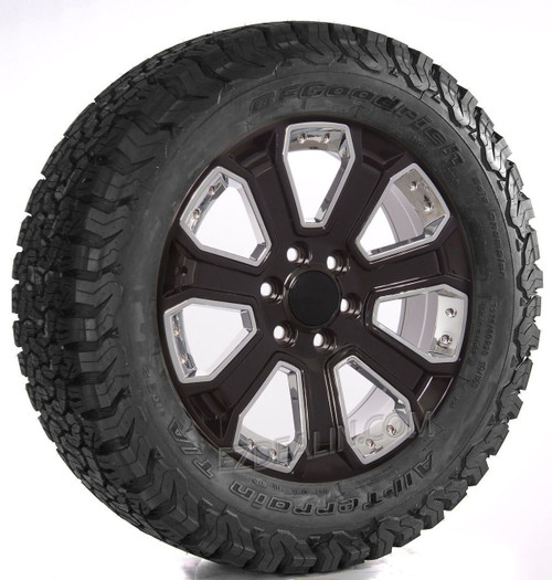 "Gloss Black 20"" With Chrome Inserts Wheels with BFG Tires for GMC Sierra, Yukon, Denali - New Set of 4"