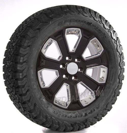 "Gloss Black 20"" With Chrome Inserts Wheels with BFG KO2 A/T Tires for Chevy Silverado, Tahoe, Suburban - New Set of 4"