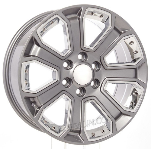 "Gunmetal 20"" With Chrome Inserts Wheels for GMC Sierra, Yukon, Denali - New Set of 4"