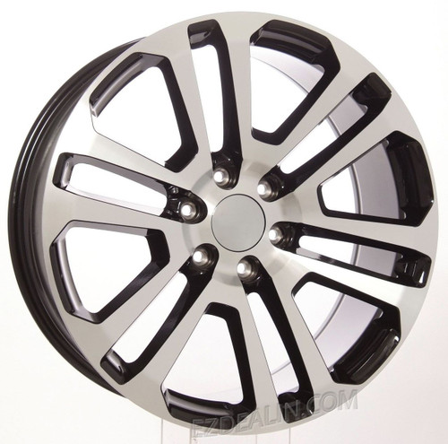 "Black and Machine 22"" Split Spoke Wheels for GMC Sierra, Yukon, Denali - New Set of 4"