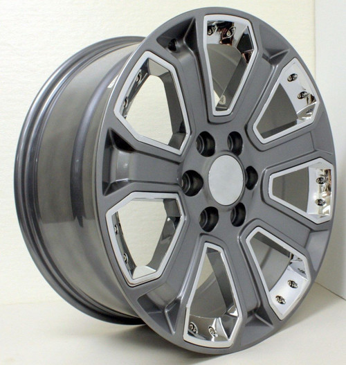 "Gunmetal 22"" With Chrome Inserts Wheels for GMC Sierra, Yukon, Denali - New Set of 4"