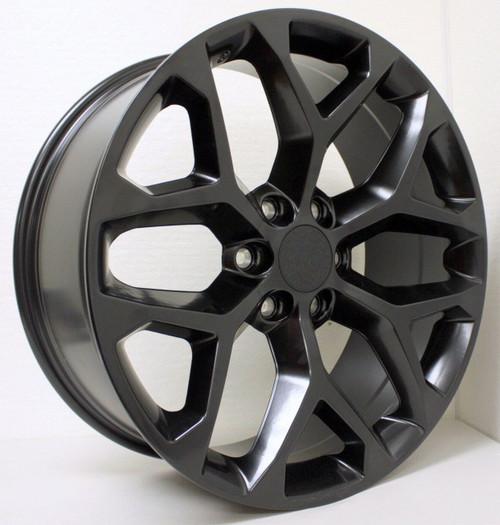 "Satin Matte Black 22"" Snowflake Wheels for GMC Sierra, Yukon, Denali - New Set of 4"