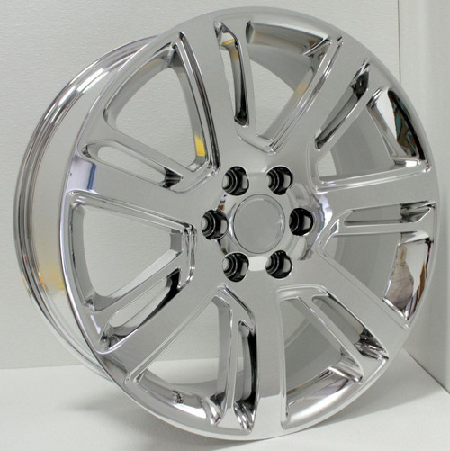 "Chrome 22"" Escalade Style Split Spoke Wheels for GMC Sierra, Yukon, Denali - New Set of 4"