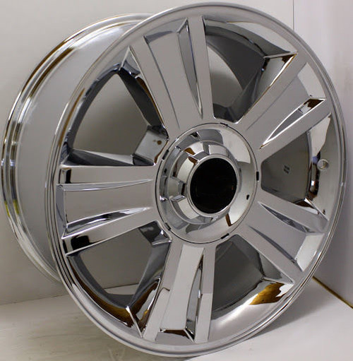 "Chrome 20"" Groved Spoke with Black Circle Center Caps Wheels for GMC Sierra, Yukon, Denali - New Set of 4"