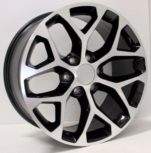 "Black and Machine 22"" Snowflake Wheels for Chevy Silverado, Tahoe, Suburban - New Set of 4"