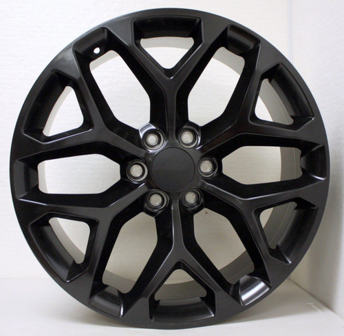 "Satin Matte Black 22"" Snowflake Wheels for Chevy Silverado, Tahoe, Suburban - New Set of 4"