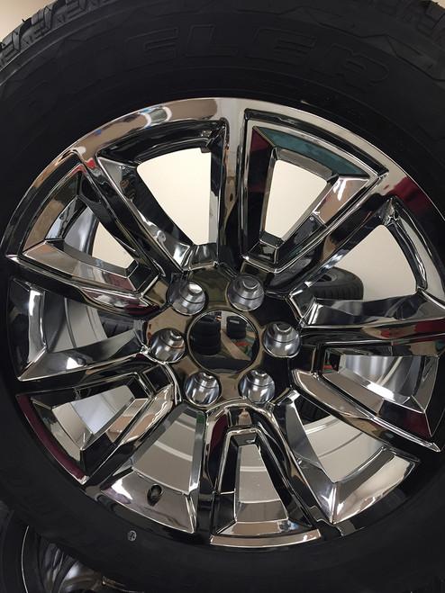 "Chrome 20"" With V Style Chrome Inserts Wheels with Bridgestone Tires for Chevy Silverado, Tahoe, Suburban - New Set of 4"