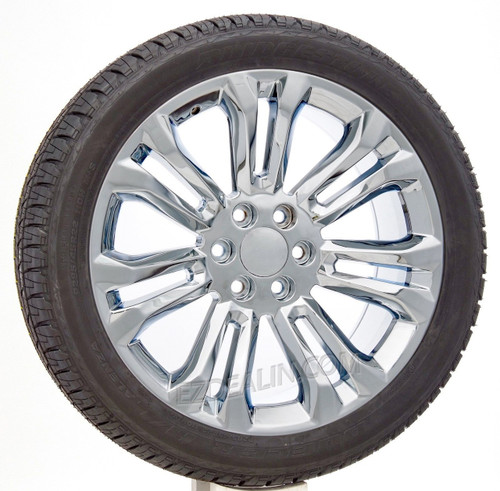 "Chrome 22"" New Style Split Spoke Wheels with Bridgestone Tires for Chevy Silverado, Tahoe, Suburban - New Set of 4"