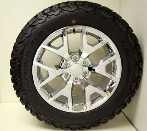 "Chrome 20"" Honeycomb Wheels with BFG KO2 A/T Tires for GMC Sierra, Yukon, Denali - New Set of 4"