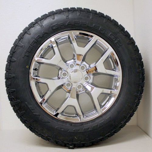 "Chrome 20"" Honeycomb Wheels with Nitto A/T Tires for GMC Sierra, Yukon, Denali - New Set of 4"