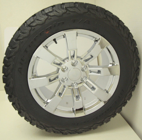 "Chrome 20"" Eight Spoke Wheels with BFG KO2 A/T Tires for GMC Sierra, Yukon, Denali - New Set of 4"