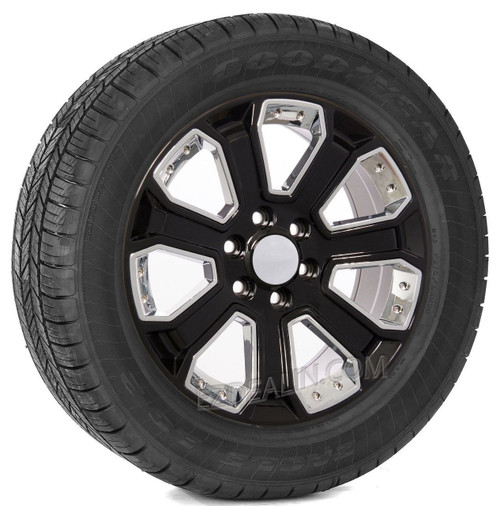 "Gloss Black 20"" With Chrome Inserts Wheels with Goodyear Tires for GMC Sierra, Yukon, Denali - New Set of 4"