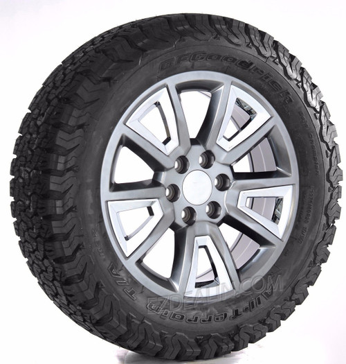 """Hyper Silver 20"""" With V Style Chrome Inserts Wheels with BFG KO2 A/T Tires for GMC Sierra, Yukon, Denali - New Set of 4"""