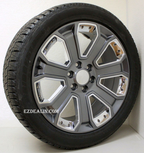 "Gunmetal 22"" With Chrome Inserts Wheels with Bridgestone Tires for GMC Sierra, Yukon, Denali - New Set of 4"