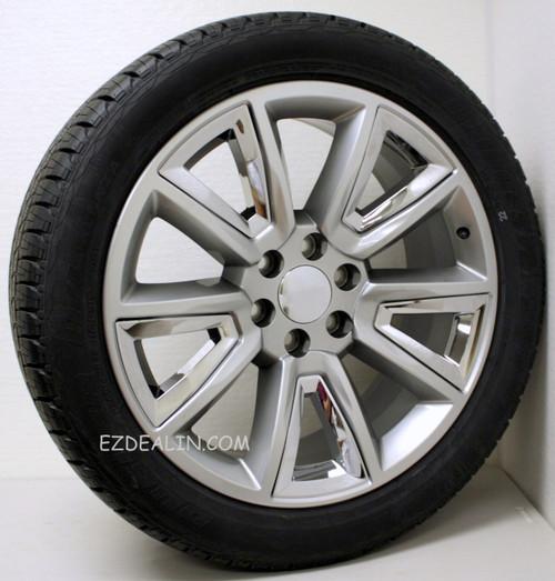 "Hyper Silver 22"" New V Style Chrome Inserts Wheels with Bridgestone Tires for GMC Sierra, Yukon, Denali - New Set of 4"