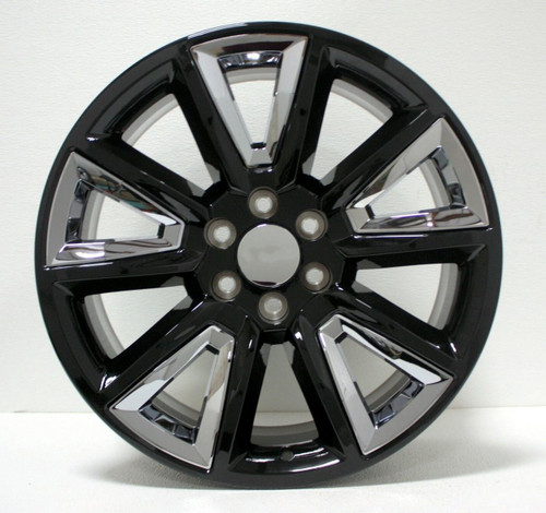 "Gloss Black 20"" New V Style Chrome Inserts Wheels for GMC Sierra, Yukon, Denali - New Set of 4"