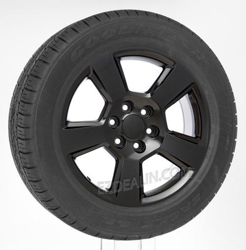 "Gloss Black 20"" New Style LTZ Wheels with Goodyear Tires for GMC Sierra, Yukon, Denali - New Set of 4"