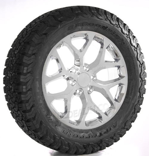 "Snowflake Chrome 20"" Wheels with BFG KO2 A/T Tires for GMC Sierra, Yukon, Denali - New Set of 4"