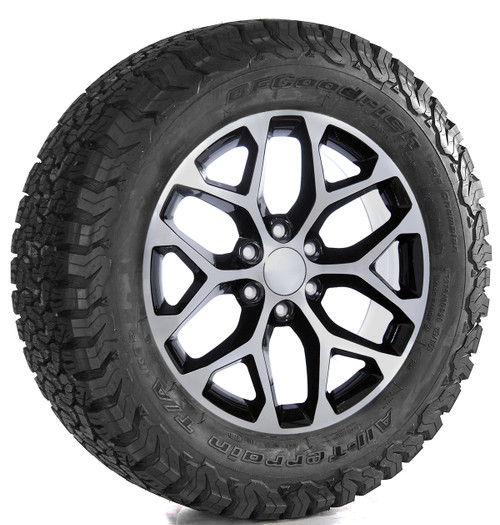 "Black and Machine 20"" Snowflake Wheels with BFG KO2 A/T Tires for Chevy Silverado, Tahoe, Suburban - New Set of 4"