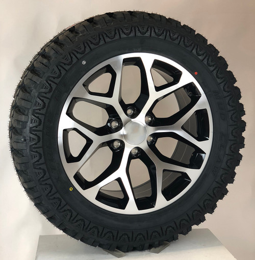 """Black and Machine 20"""" Snowflake Wheels with MudClaw M/T 33/12.50/20 Tires for Chevy Silverado, Tahoe, Suburban - New Set of 4"""