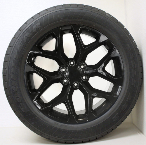 "Gloss Black 20"" Snowflake Wheels with Goodyear Tires for Chevy Silverado, Tahoe, Suburban - New Set of 4"