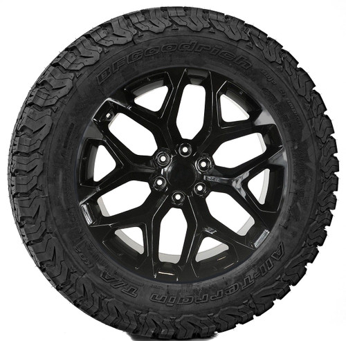 "Gloss Black 20"" Snowflake Wheels with BFG KO2 A/T Tires for Chevy Silverado, Tahoe, Suburban - New Set of 4"