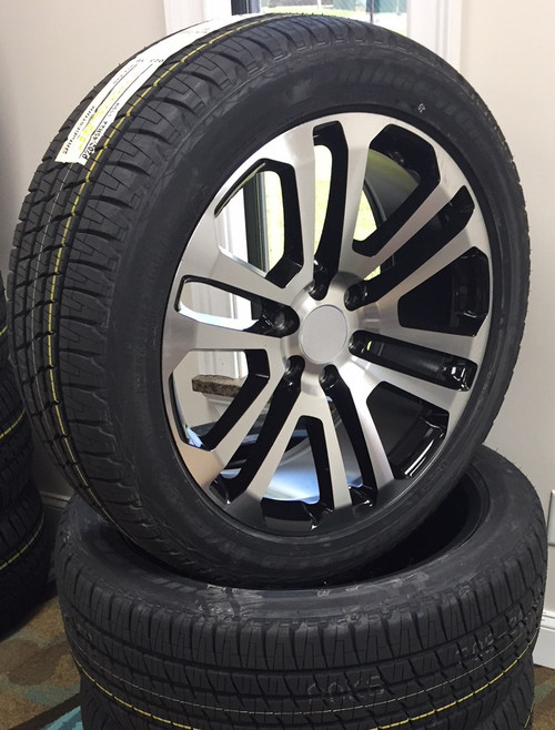 "Black and Machine 22"" Split Spoke Wheels with Bridgestone Tires for GMC Sierra, Yukon, Denali - New Set of 4"