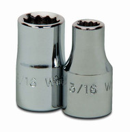 "3/16"" Williams 1/4"" Dr Shallow Socket 12 Pt - 30206"