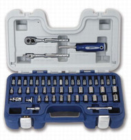 "3/16 - 9/16"" & 4 - 14MM Williams 1/4"" Dr Shallow Socket, Hex & Screwdriver Bit Set 6 Pt 47 Pcs & Tool Box - 50601"